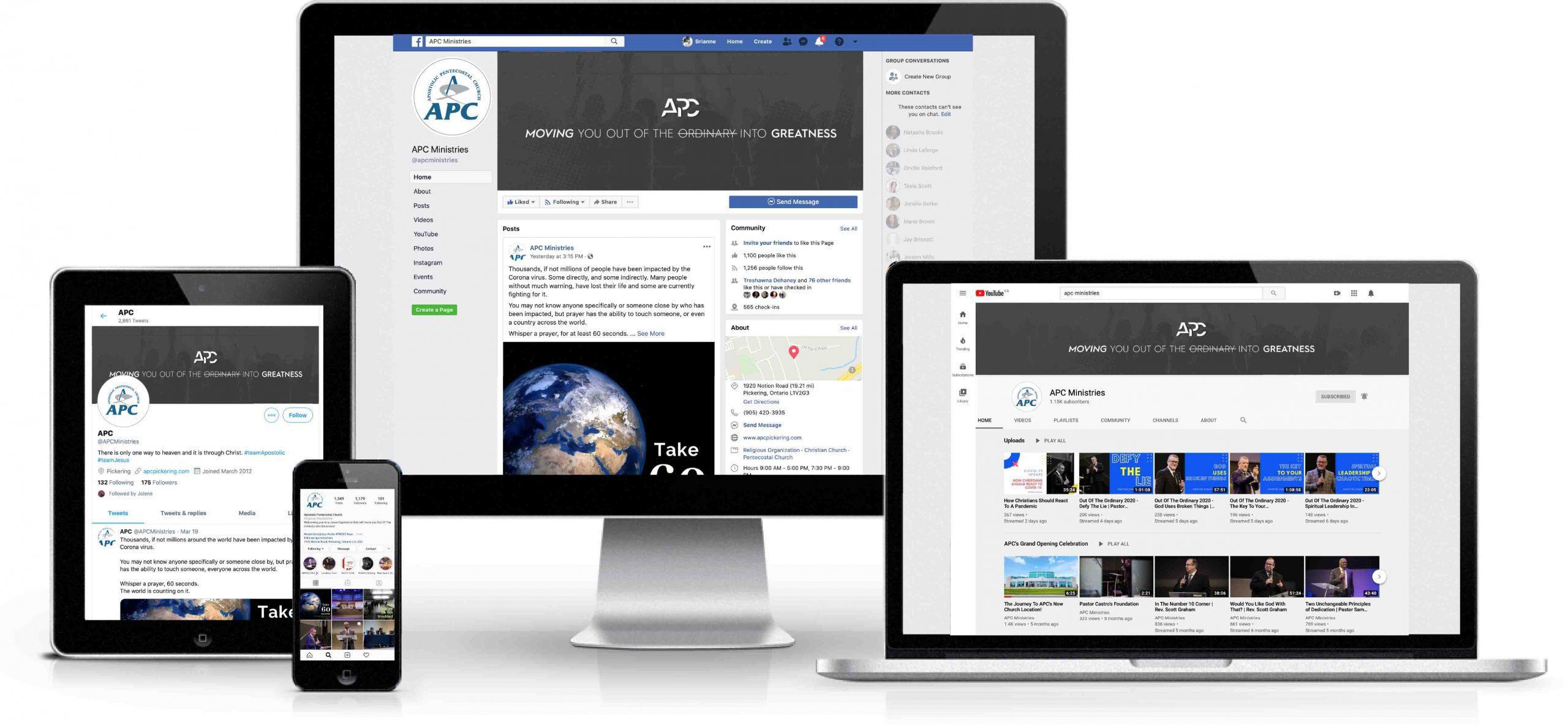 APC Social Media Platforms on Devices